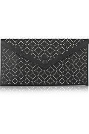 Arabesque studded leather envelope clutch