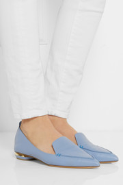 Textured-leather point-toe flats
