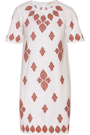 Embroidered cotton-muslin dress