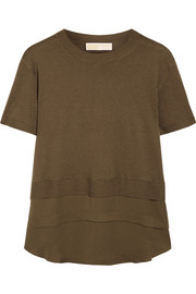 Silk chiffon-paneled knitted top