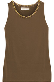 Chain-embellished stretch-jersey top