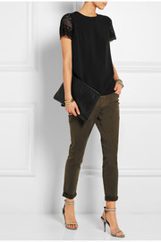 MICHAEL Michael Kors Lace-sleeved crepe top
