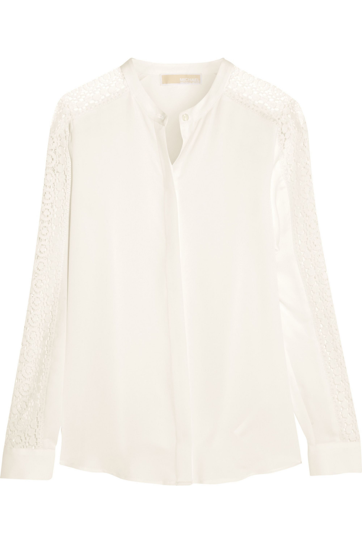 MICHAEL Michael Kors Lace-paneled silk-crepe blouse