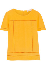 Pointelle-trimmed crepe top