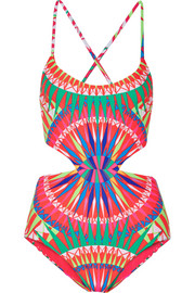 Reversible cutout printed swimsuit