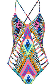 Lattice Maillot printed swimsuit