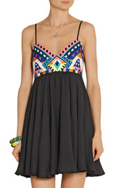 Mara Hoffman Embroidered textured-voile mini dress