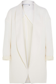 Wool, cotton and silk-blend twill coat