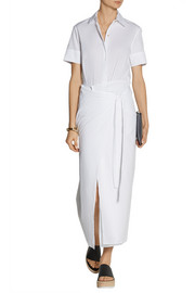Rosetta Getty Wrap-effect cotton-poplin midi dress