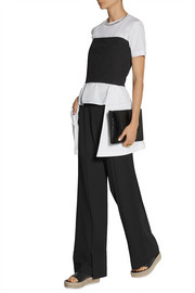 Rosetta Getty Asymmetric pleated cotton-poplin top