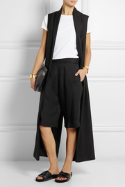 Pleated cotton-twill culottes