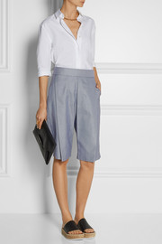 Rosetta Getty Pleated houndstooth cotton shorts