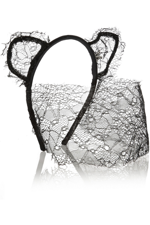 Maison Michel Lace and satin cat ear headband