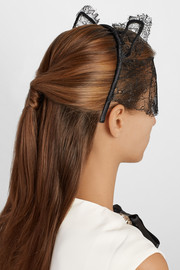 Maison Michel Lace and satin cat ear headband