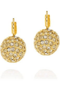 Kenneth Jay Lane Gold-tone pavé earrings