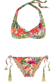Jungle embellished printed halterneck bikini