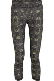 Printed stretch-jersey capri leggings
