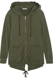 Stretch-cotton twill hooded jacket