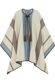 Striped cashmere and wool-blend cape