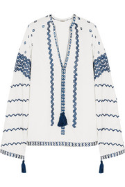 Talitha Sana embroidered cotton-voile tunic