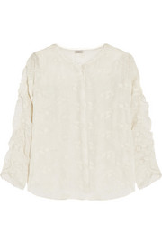 Posy embroidered cotton and silk-blend top