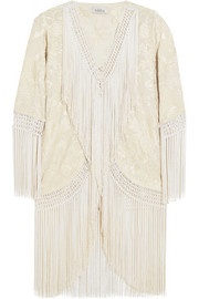 Tasha embroidered silk-georgette jacket