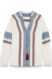 Kali embroidered cotton-voile top