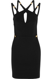 Cutout stretch-crepe mini dress
