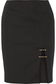 Embellished stretch-cady pencil skirt