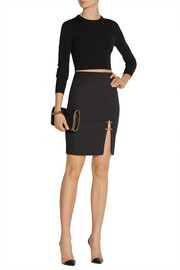 Versus Embellished stretch-cady pencil skirt