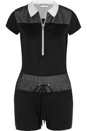 Mesh-paneled stretch-jersey playsuit