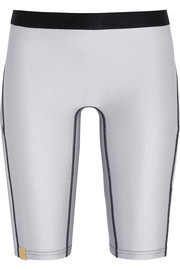 Metallic stretch-jersey shorts