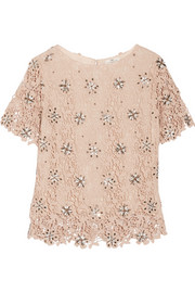 Organi embellished crocheted cotton top