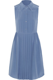 Pleated silk crepe de chine dress