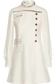 Miu Miu Embellished wool and silk-blend mini dress