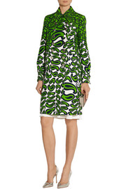 Miu Miu Printed wool and silk-blend coat