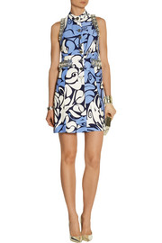 Miu Miu Embellished printed cady mini dress