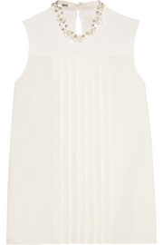 Crystal-embellished pleated crepe top