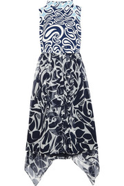 Printed crepe and silk-chiffon mini dress