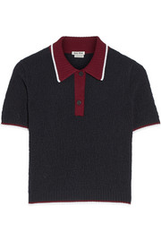 Textured-wool polo shirt