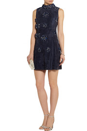 Miu Miu Embellished suede mini dress