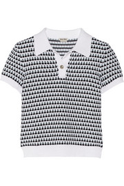 Miu Miu Crochet-knit cotton polo shirt