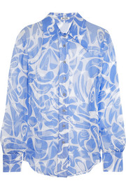 Printed crinkled silk-chiffon shirt