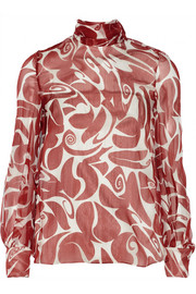 Tie-back printed silk-chiffon blouse