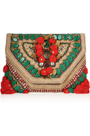 Cuzco embellished embroidered suede clutch