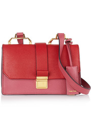 Madras textured-leather shoulder bag