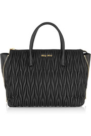 Madras textured-leather tote
