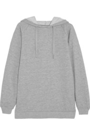 Cotton-blend terry hooded top