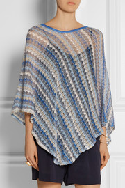 Missoni Crochet-knit cotton-blend poncho