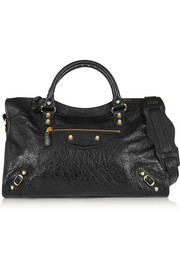 City textured-leather tote